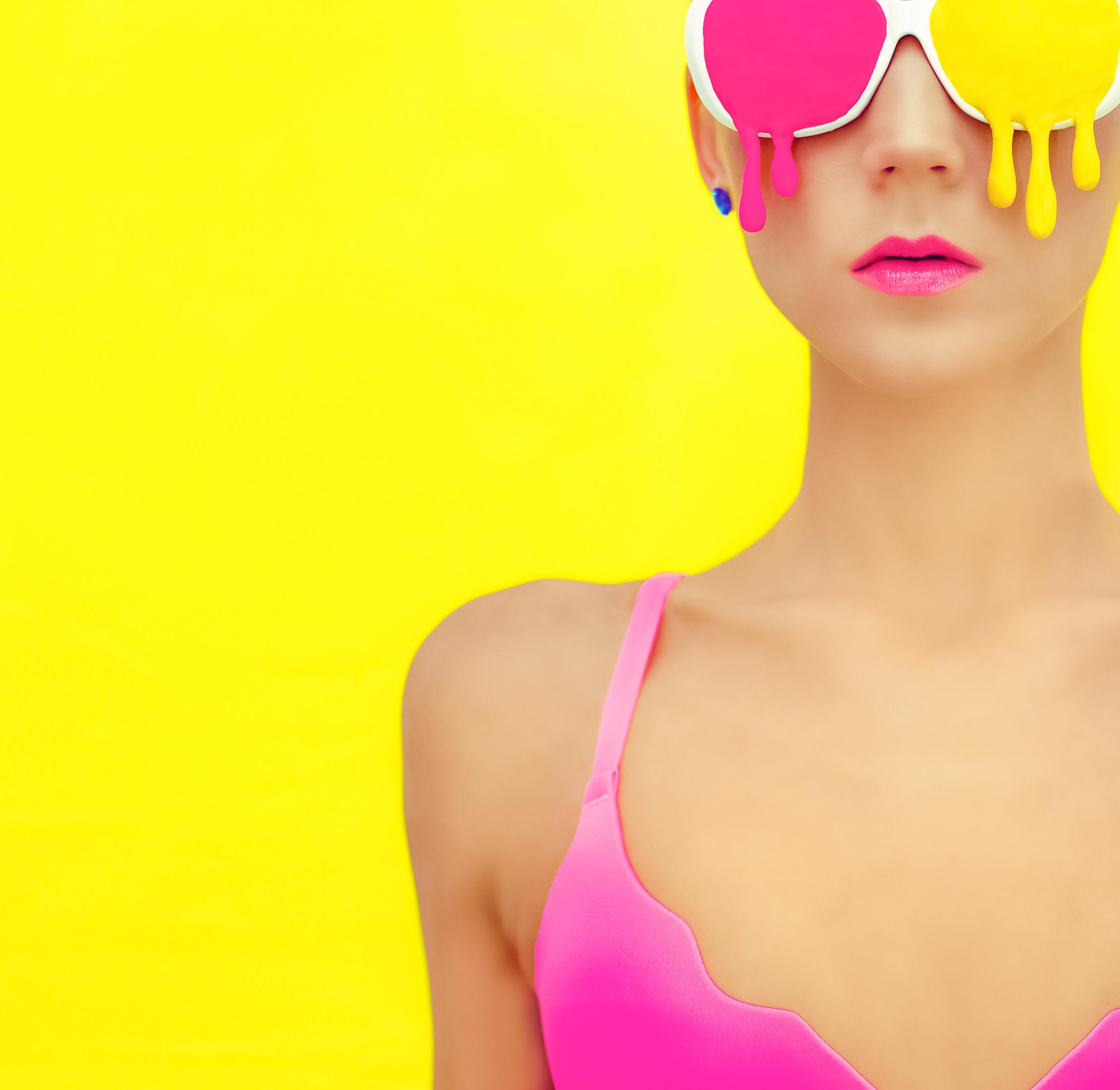 Druckerei Zimmer Farbe Frau Gelb Pink